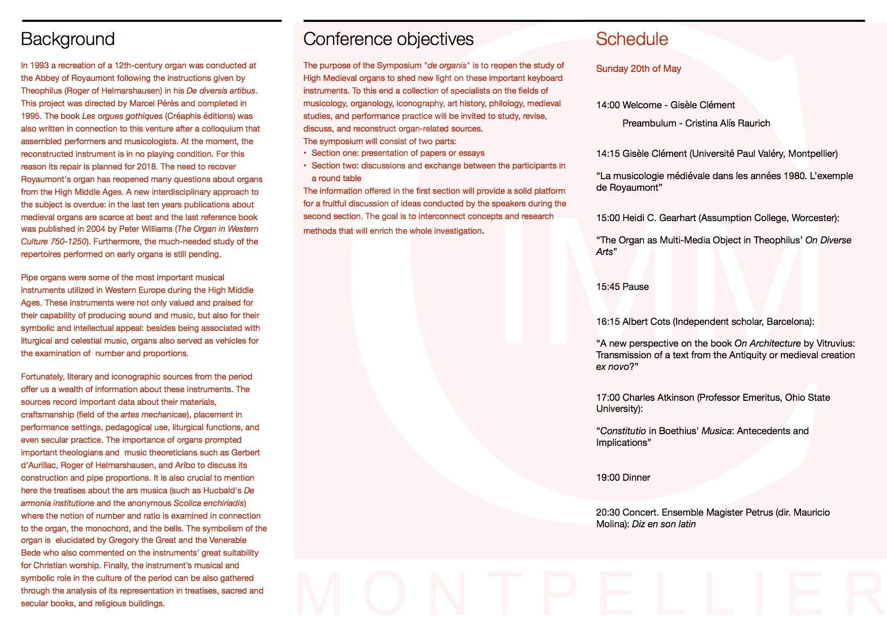"""Symposium """"de organis"""" - Program page 2"""
