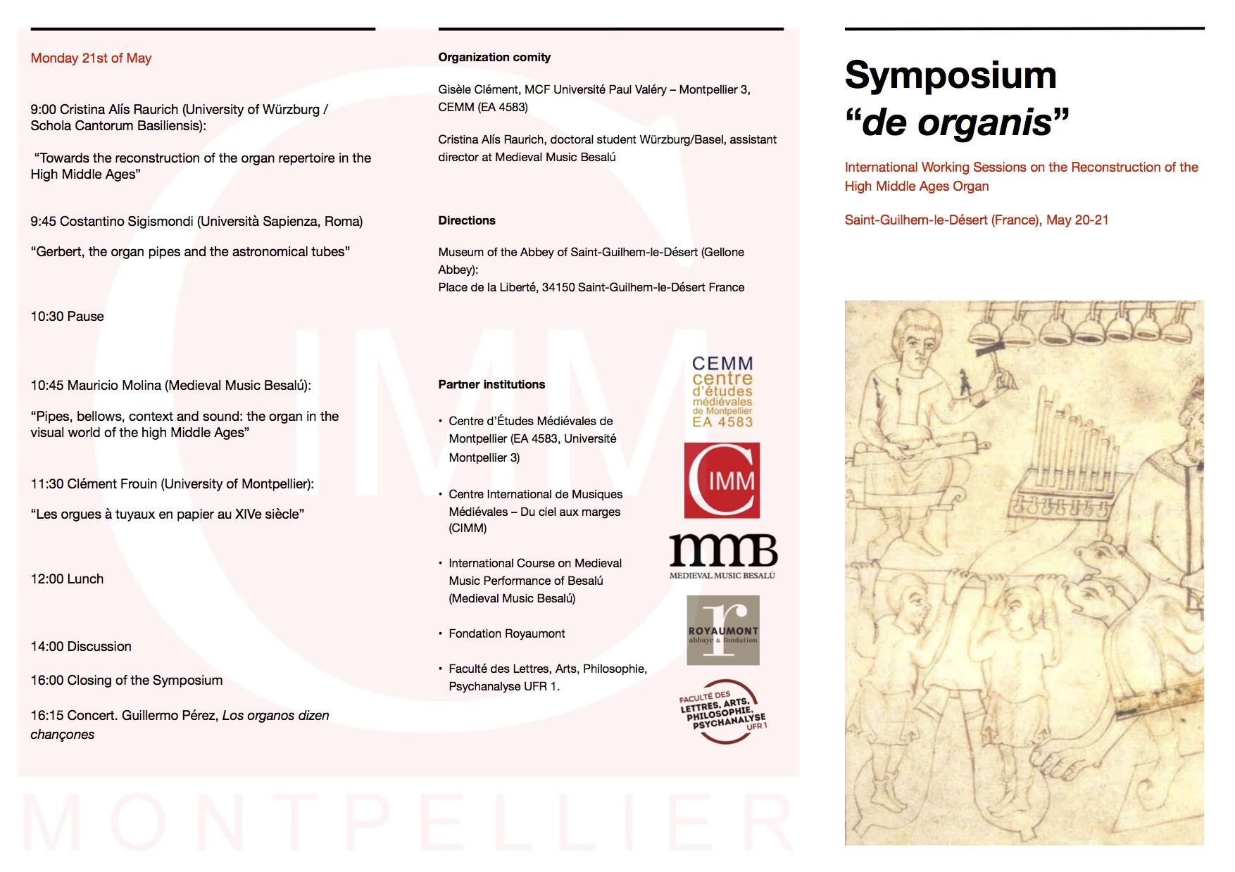 """Symposium """"de organis"""" - Program"""
