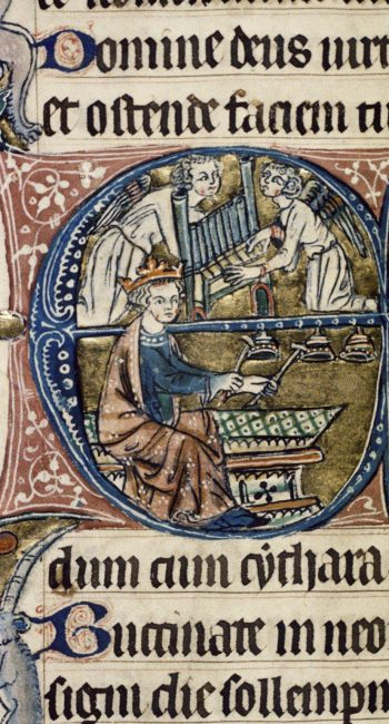 Psaltery, Oxford, Bodleian Libraries, MS. Auct. D. 2. 2, fol. 94v, 14th century